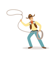Man in american traditional costume with lasso vector