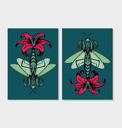 Mantis insect with lily flower flora and fauna vector