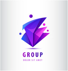 men geometric 3d logo 4 people teamwork vector image