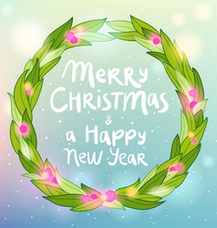 Merry Christmas and Happy New year wreath greeting vector image