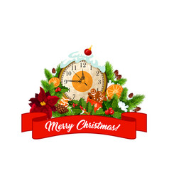 Merry christmas eve clock decorations icon vector