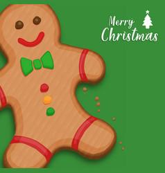 merry christmas gingerbread cookie cartoon card vector image