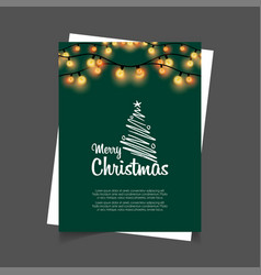 merry christmas glowing lights green background vector image