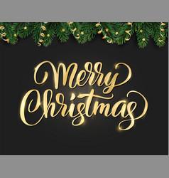 merry christmas hand written lettering winter vector image