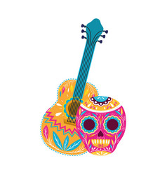 Mexican skull with guitar icon vector