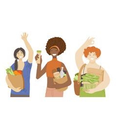 multiracial group happy joyful woman holding vector image