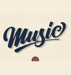 music volumetric hand drawn lettering 3d vector image