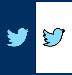 Network social twitter icons flat and line filled vector