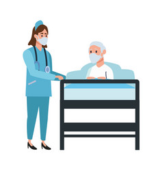 nurse attending old man lying in bed vector image