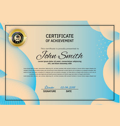 Official beige blue certificate with blue orange vector