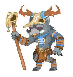Outline druid wolf werewolf shapeshifter shaman vector