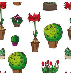 pattern indoor plants vector image