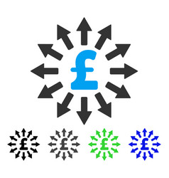 Pound money distribution flat icon vector