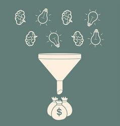 Profit concept brains and light bulb falling into vector