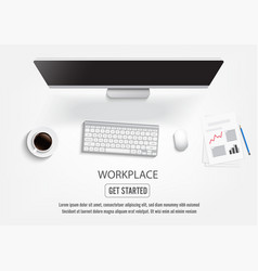 Realistic workplace desktop top view desk table vector