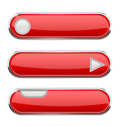 Red oval buttons menu interface icon with chrome vector