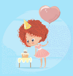Redhead girl blowing out birthday cake candle vector