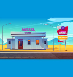 roadside motel on dessert highway cartoon vector image
