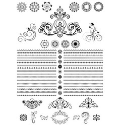Round ornaments and border on white background vector