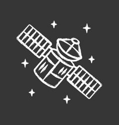 satellite chalk icon sputnik artificial object vector image