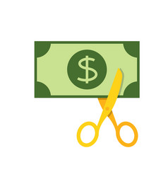 Scissors cutting money vector