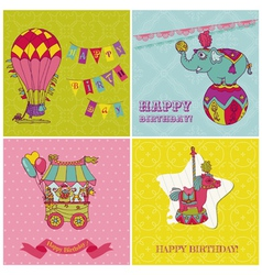 set birthday greeting cards for kids vector image