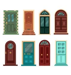 set vintage doors in flat style vector image
