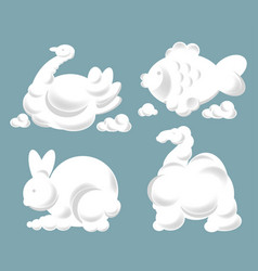 Silhouettes of clouds fish animal and bird vector