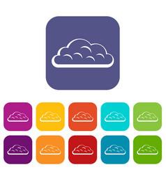 Snow cloud icons set flat vector
