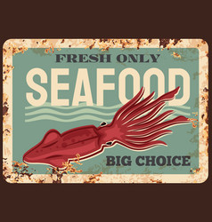squid animal rusty plate seafood rust sign vector image