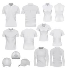 t-shirt cap mockup set realistic style vector image