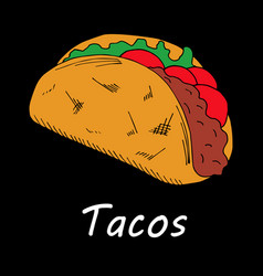 taco on black background vector image
