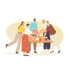 Teamwork team bonding concept office colleagues vector