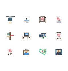 Trade show rooms color icons set vector