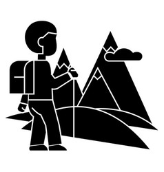 Traveller hiking icon sig vector