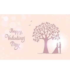Tree love with hearts vector
