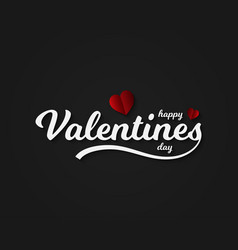 valentines day card lettering with hearts red vector image