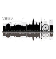 Vienna city skyline black and white silhouette vector
