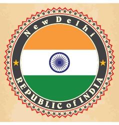 Vintage label cards india flag vector