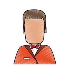 waiter faceless cartoon vector image