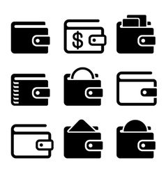 Wallet Icons Set on White Background vector image