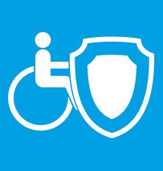 wheelchair and safety shield icon white vector image