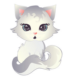 white kitten with blue eyes vector image