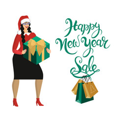 woman in santa hat buys gifts in season of vector image