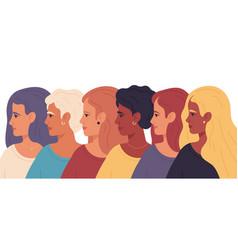 Women day female profile portraits sisterhood vector