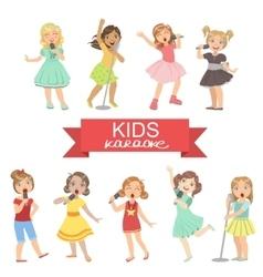 Young Girls Singing In Karaoke vector