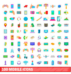 100 mobile icons set cartoon style vector image