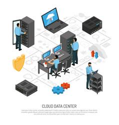 cloud data center isometric flowchart vector image vector image