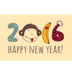 Face monkey happy new year greeting card vector image vector image