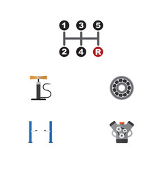 Flat icon service set of carrying motor brake vector